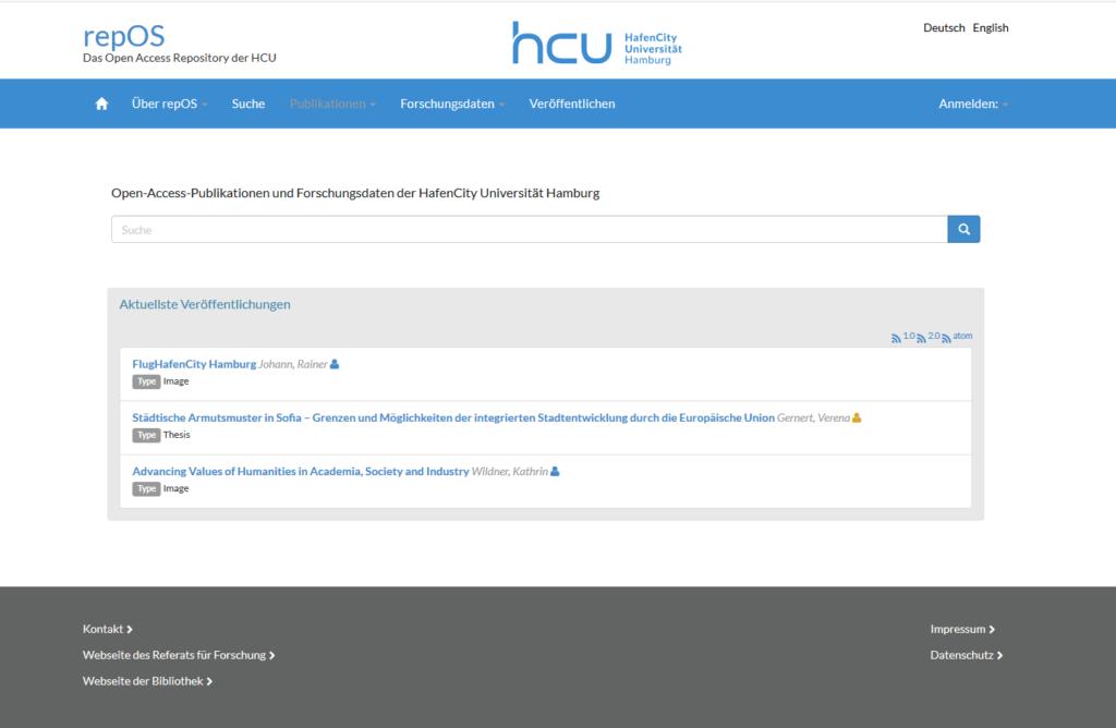 Screenshot repOS HCU Hamburg